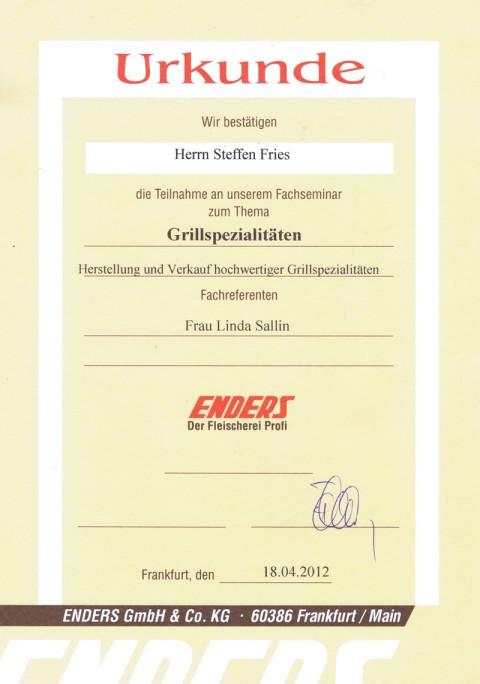 Urkunde Grillfachmann Steffen Fries
