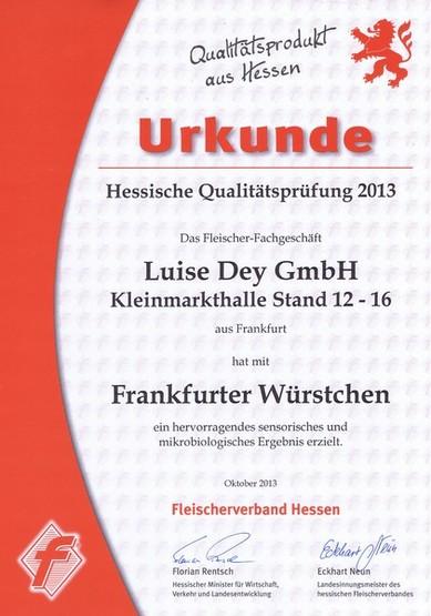 Frankfurter Fleischwurst, Auszeichnung Luise Dey GmbH